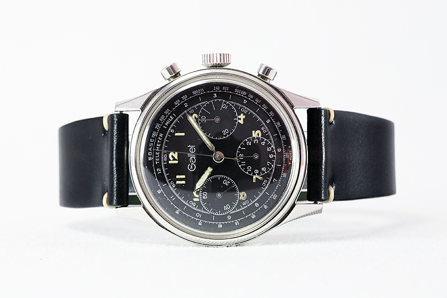 1970's Gallet Swiss Vintage Black Dial Steel Chronograph