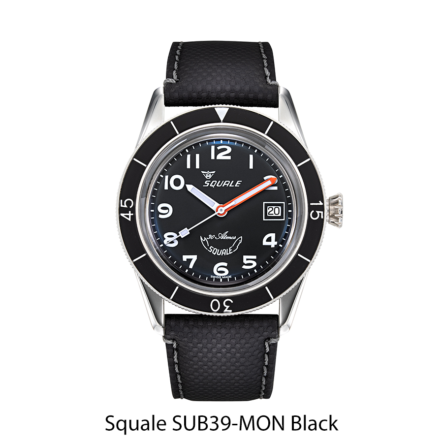 BNIB SQUALE Ref. SUB39-MON Black 30Atm 300m 39mm Diving Watch Sellita Cal. SW200 With Date