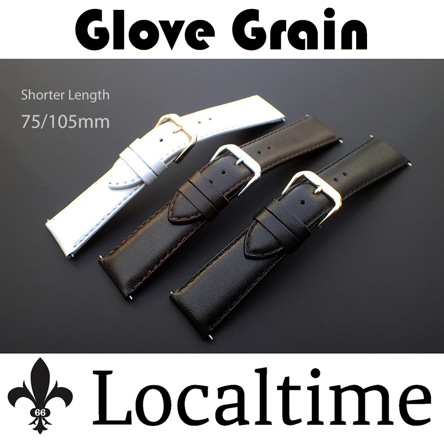 Localtime Plush Glove-Grain Calf Leather Watch Straps In Shorter Length For Thinner Wrists