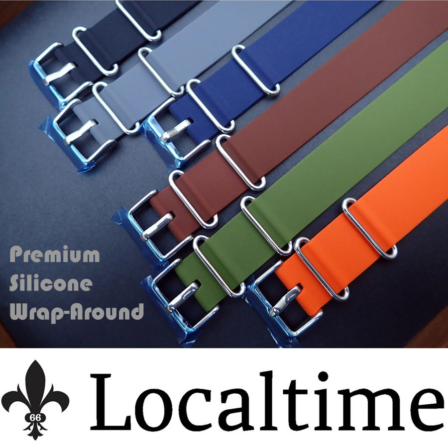 New Premium Silicone NATO Wrap-Around Sport Watch Straps Stainless Steel Fittings 18-20-22mm