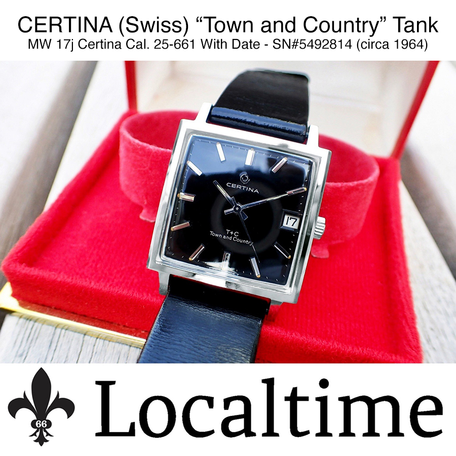 1964 CERTINA (Swiss) Ref. 5301-115 'Town and Country' Tank Dress Watch – MW 17j Certina 25-661 With Date SN#5492814