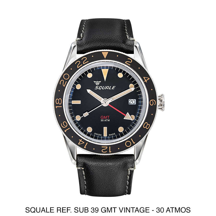 BNIB SQUALE Ref. SUB39 GMT Vintage Black 30Atm 300m 39mm Diving Watch ETA Cal. 2893-2 With Date