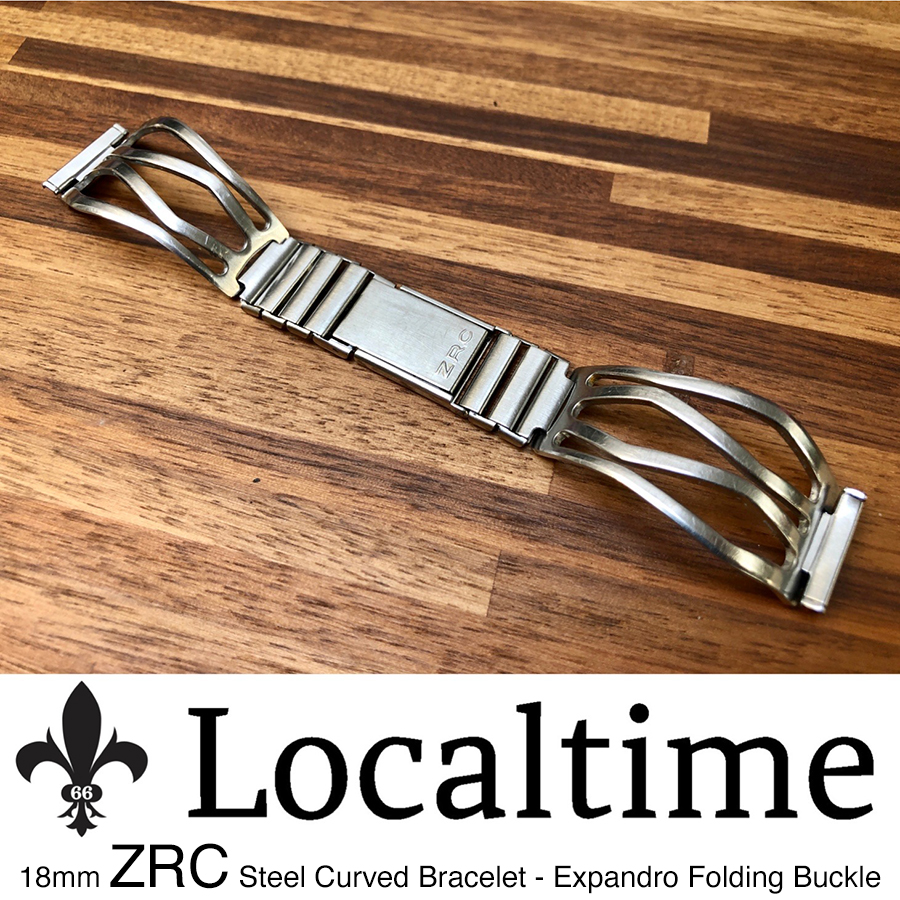 18mm 1960's ZRC (France) Solid Stainless Steel Watch Curved Bracelet – Expandro Folding Buckle