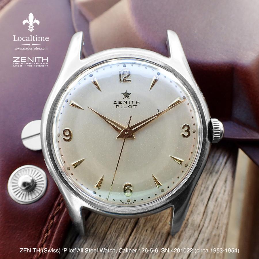 1953-54 Zenith (Swiss) Pilot Vintage Dress Steel Watch SN #4201022 – 15j Cal. 126-5-6