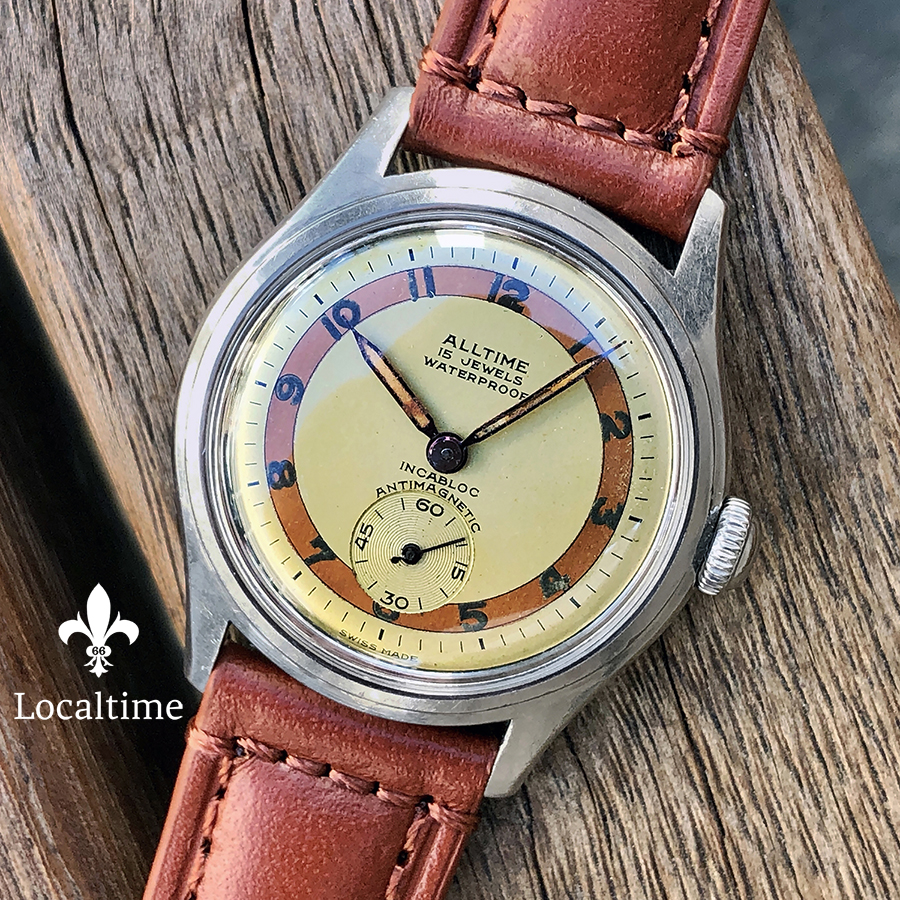 1950's ALLTIME (Swiss) Vintage Dress Watch Small Seconds Honey Dial With Bronze Ring – 15j Manual-Wind
