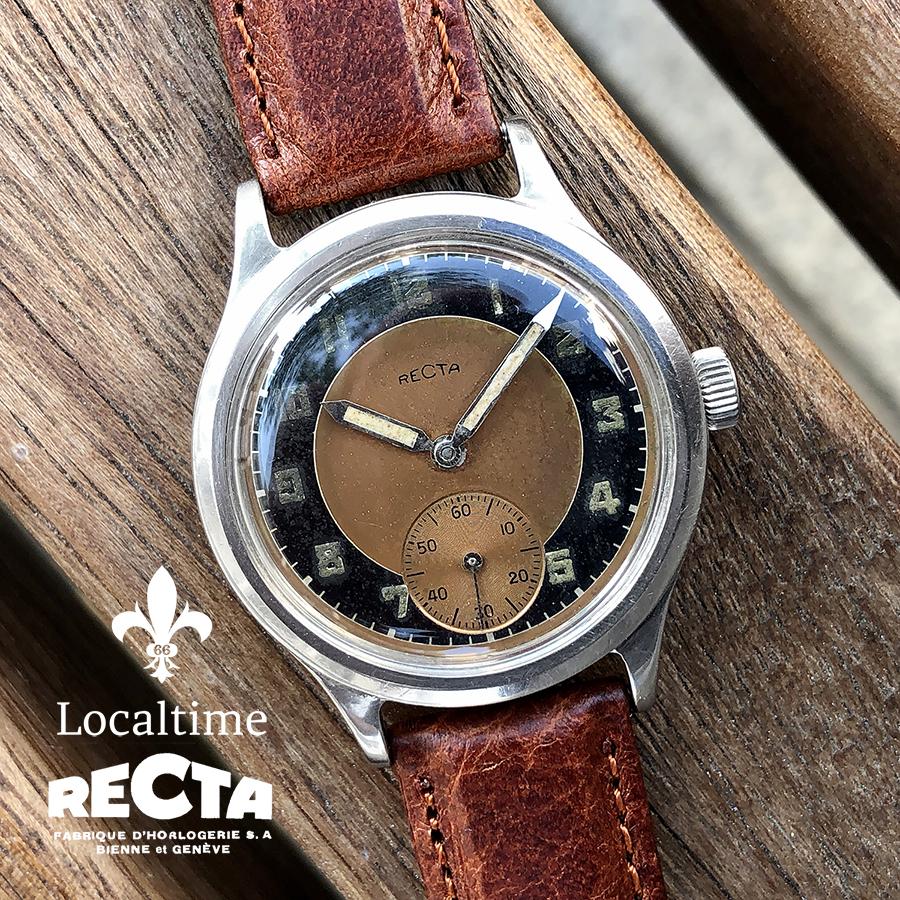 1940's Recta (Swiss) Vintage Dress Watch Small Seconds Bronze Bullseye Dial – 17j Recta Cal. G