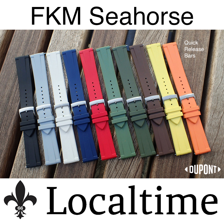 """New """"SEAHORSE"""" Line! FKM Rubber Quick Release Dive Watch Strap Band 20-22mm 10 Colours"""