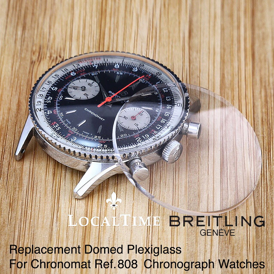 """Replacement Low Domed Plexiglass for Vintage BREITLING """"Chronomat"""" Ref. 808 Chronograph Watches"""