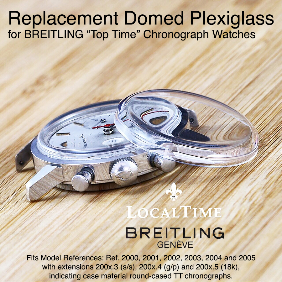"""Replacement High Domed Plexiglass for Vintage BREITLING """"Top-Time"""" Ref. 2000 to Ref. 2005.3 Chronograph Watches"""
