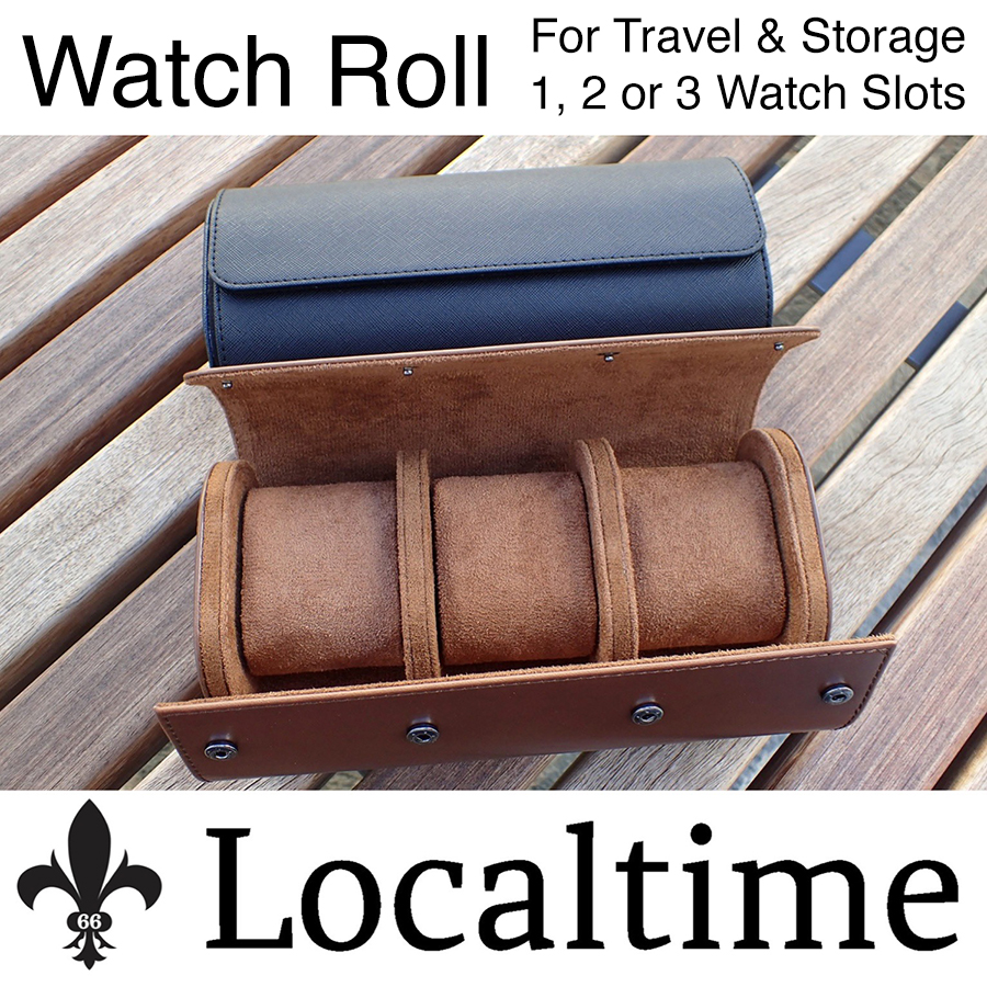 Localtime Single, Double & Triple Travel Watch Roll Tube Case – Black or Brown With Removable Pillows