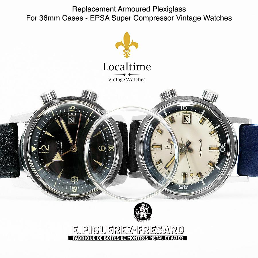 Replacement Armoured Plexiglass For 36mm EPSA Cases Super Compressor Vintage Watches
