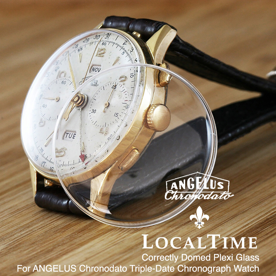 Replacement Domed Plexiglass For Angelus Chronodato Triple-Date Chronograph Watches