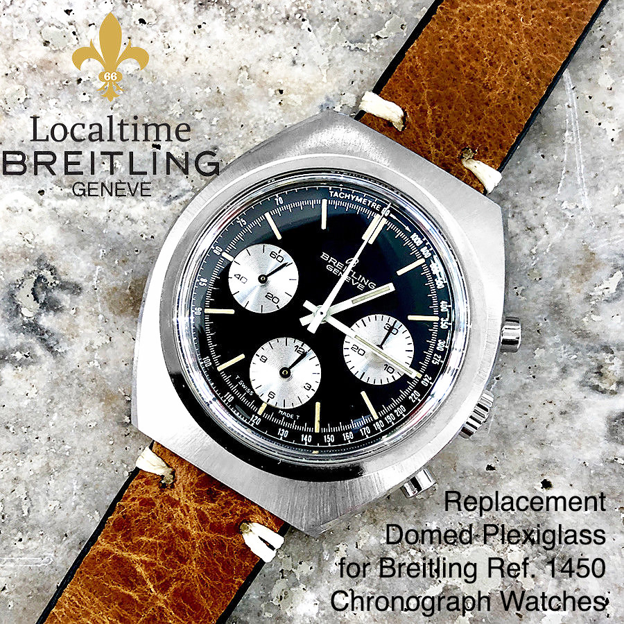 Replacement Low-Domed Plexiglass For Vintage Breitling Ref. 1450 Chronograph Watches