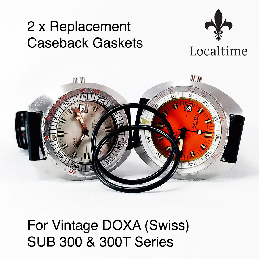 2 x Caseback Gaskets for Vintage DOXA (Swiss) Sub 300 Series Cushion-Shaped Automatic Watches