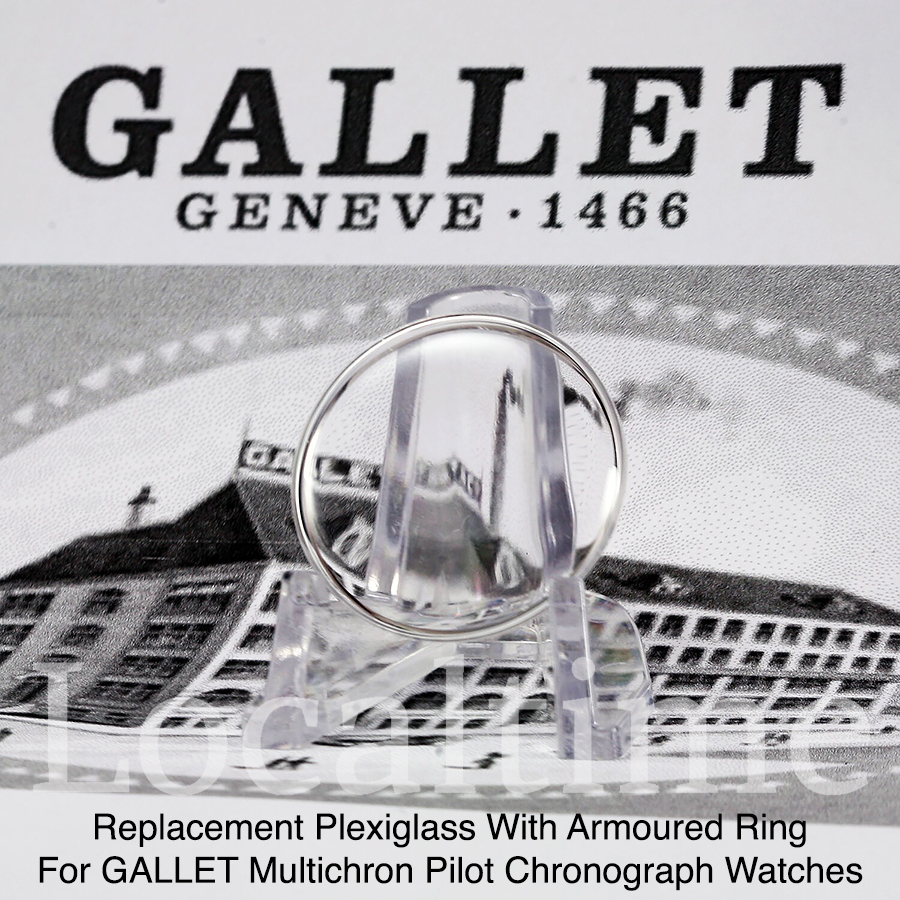 Replacement Plexi For GALLET Chronograph Multichron Pilot Watch With Armoured Ring
