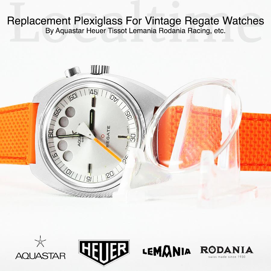 Replacement Plexiglass For Vintage Regate Watches By Aquastar, Heuer, Tissot, Lemania, Rodania, Racing, etc.