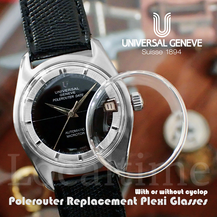 Replacement Plexiglass For Universal Geneve UG Polerouter Vintage Aquastar Case Watch 29-32mm With Or Without Cyclops