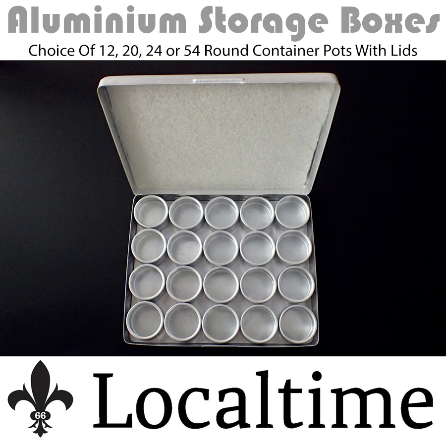 Selection Of Aluminium Storage Boxes With 12-20-24-54 Container Pots & Lid Parts