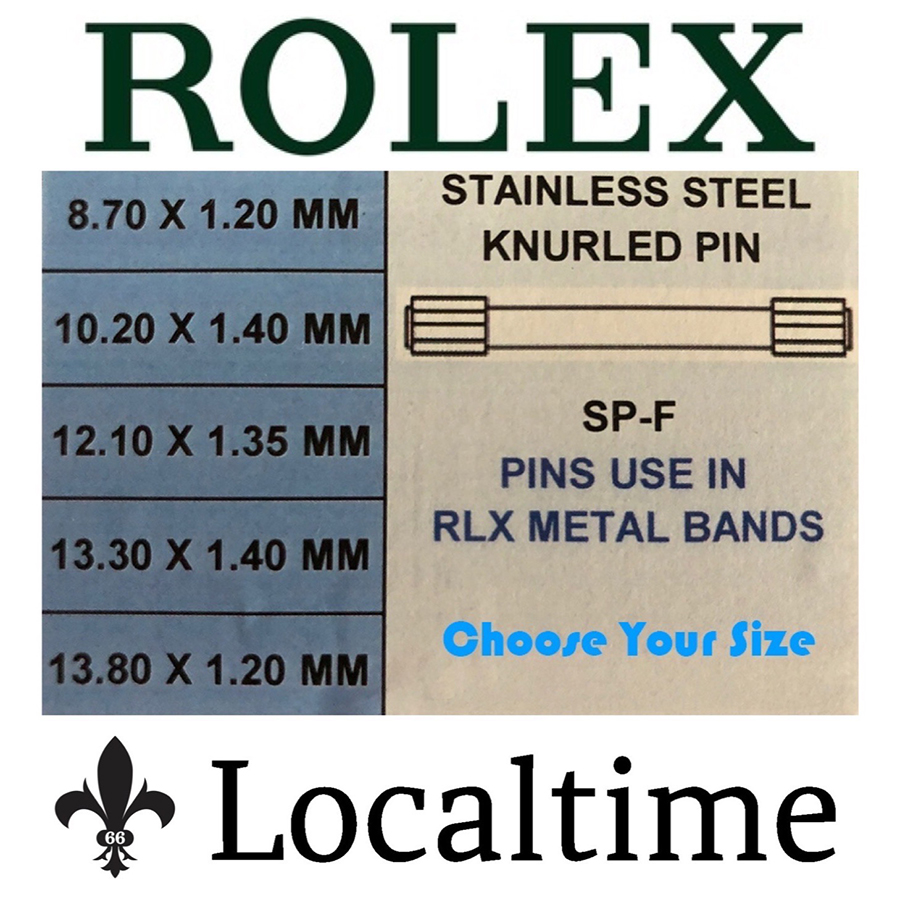 Double-Ended Stainless Steel Knurled Link Pins For Rolex Watch Bracelets (Pack Of 5)