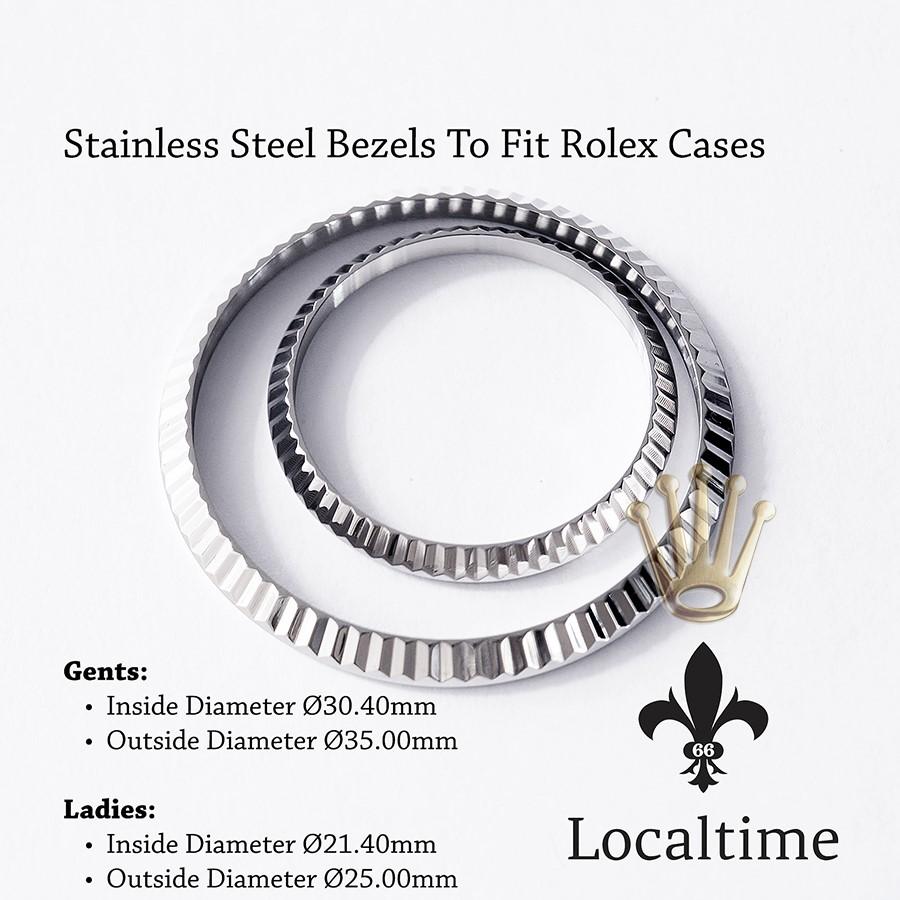 Replacement Steel Fluted Bezel For Rolex & Tudor 36mm Gents & 26mm Ladies Watch