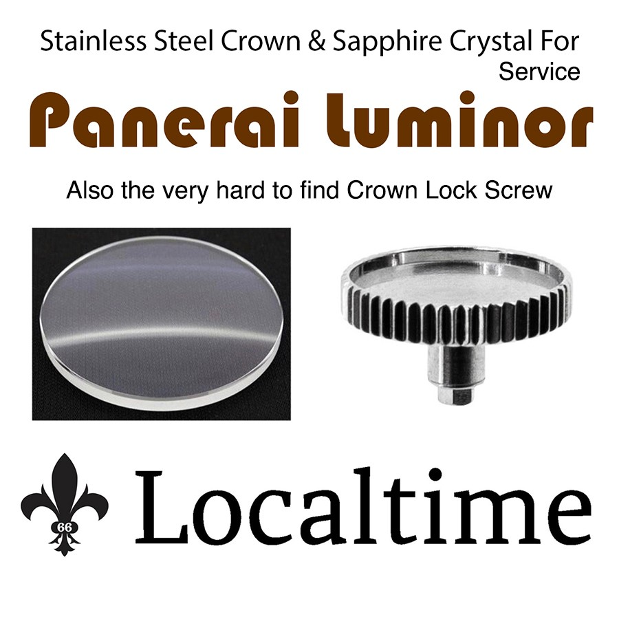 Service Replacement Parts For Panerai Luminor Stainless Steel Crown, Sapphire Crystal, Crown Lock Screw