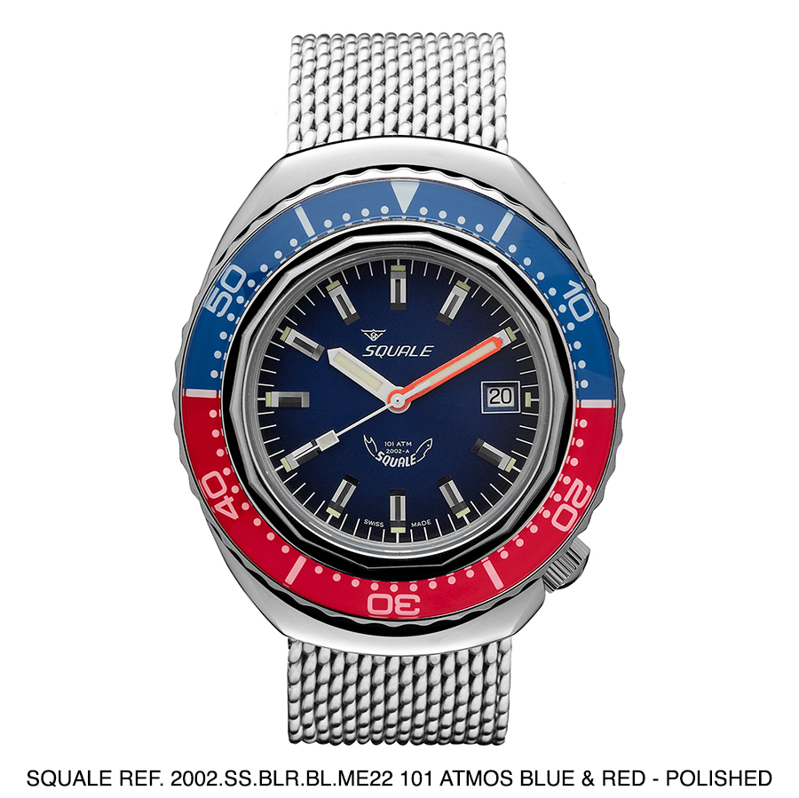BNIB SQUALE (Swiss) Ref. 2002.SS.BLR.BL.ME22 101ATM Blue & Red Polished Diving Watch – Sellita Cal. SW 200-1
