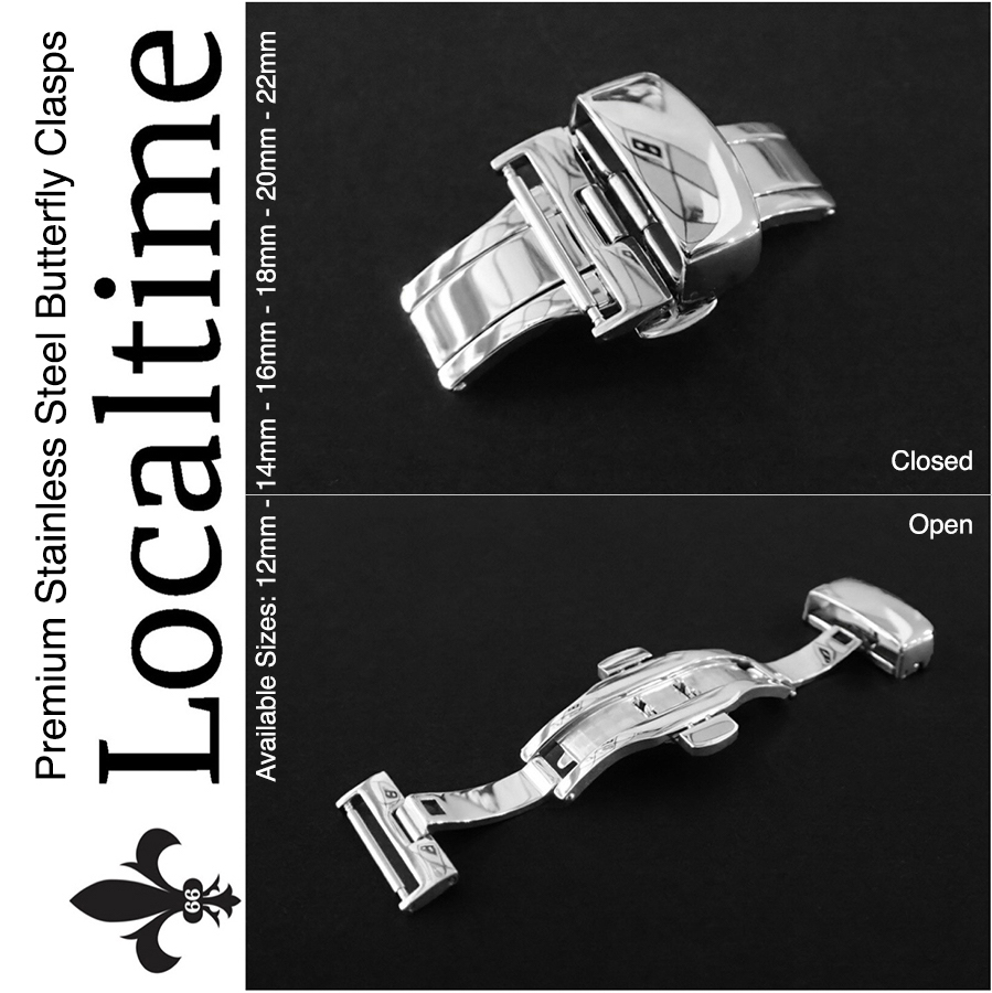 Premium Polished Stainless Steel Watch Strap Butterfly Spring Release Buckle Clasp 14mm – 22mm