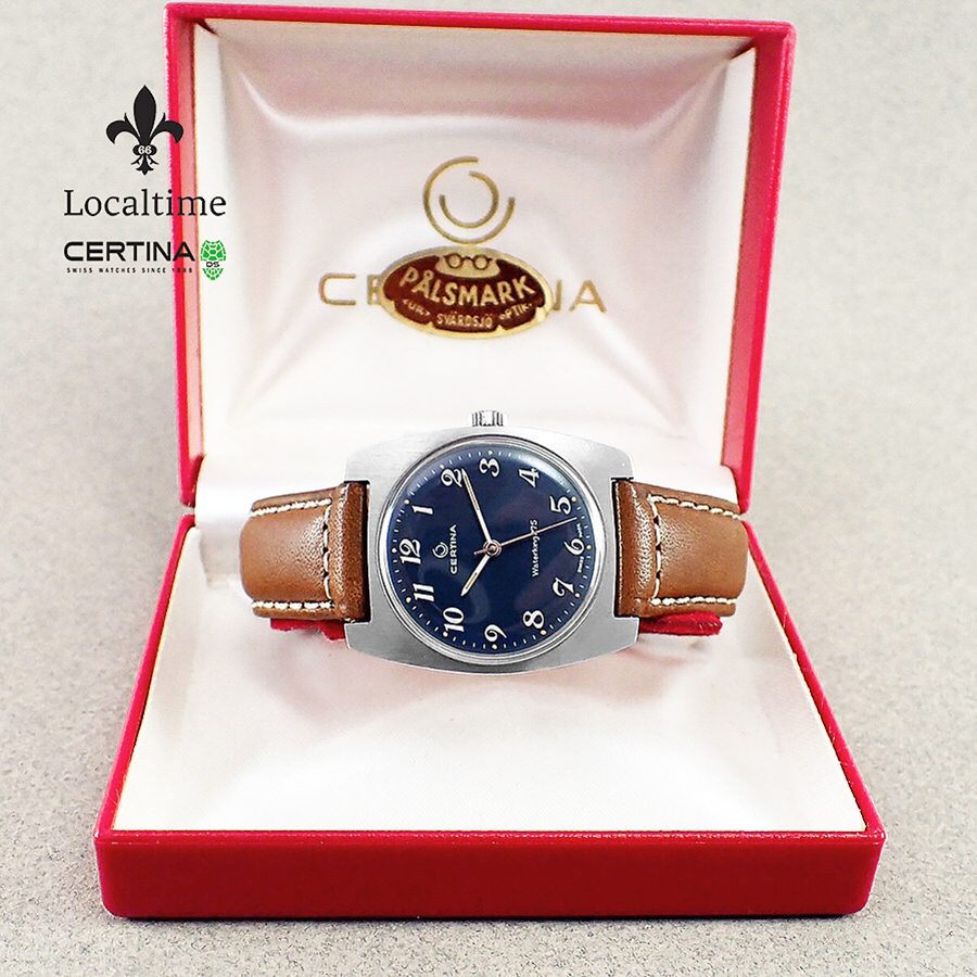 Boxed 1960's CERTINA (Swiss) 'Waterking 275' Steel Field Watch Anthracite Blue Dial – 17j Certina Cal. 25-66